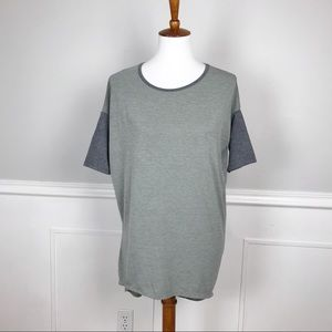 LULAROE Irma XXS green & gray color block tunic